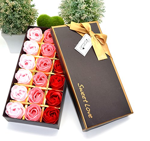 MAYMII 18Pcs Flora Scented Bath Soap Rose Flower Flowers Made By Nature Plant Essential Oil Set,in Gift Box, (Pink,Blue, Red, Purple for Choice) ()