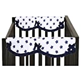 Bacati Stars Small Side 100% Cotton Crib Rail Guard 2 Piece Set, Navy