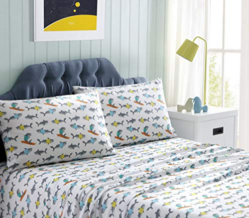 Sheets Shark - Kute Kids Super Soft Sheet Set - Sharks - Includes Pillowcase(s) Available in Twin & Full Size (Full)