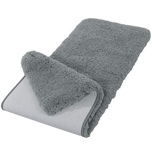 Lifewit 59″x20″ Long Soft Area Rug Non-Slip Bathroom Mat Microfiber Water Absorbent, Grey