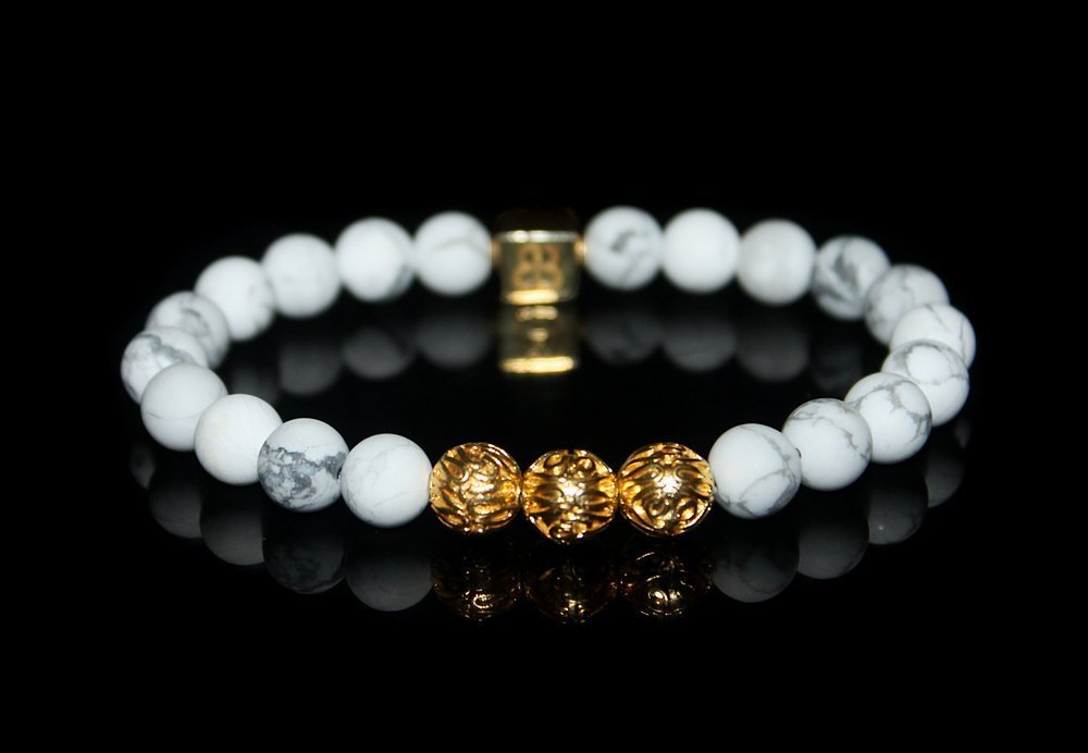 White Howlite and Gold Bracelet Luxury Bracelet Matte White Howlite Bracelet