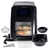 Modernhome 8Qt Premium Digital Air Fryer Toaster Oven with Auto-Stirring, Rotating Rotisserie, Full Accessories Set with Skewers, Pans, Multiple Shelves and Recipe Cookbook - Bake, Roast, Fry and Grill Your Favorite Meals with Up to 90% Less Fat
