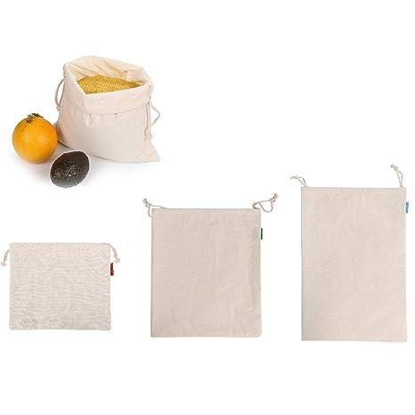 Foliner Bolsas de algodón Reutilizables Bolsas con cordón ...