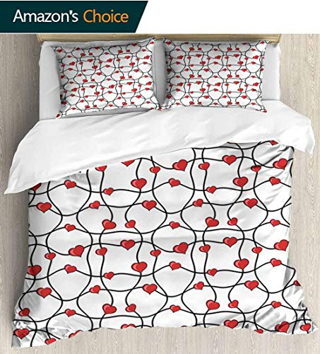 shirlyhome Valentines Cotton Bedding Sets,Geometric Themed Illustration with Lines and Hearts Romantic Love Print Kids Bedding-Does Not Shrink or Wrinkle 68