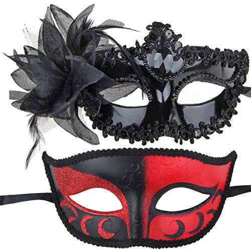 Couples Pair Mardi Gras Venetian Masquerade Masks Set Party Costume Accessory (Mardi Gras Couples Costumes)