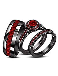 1.65CT Round Red Ruby 18K Black Gold Silver Plated Wedding Trio Ring Set
