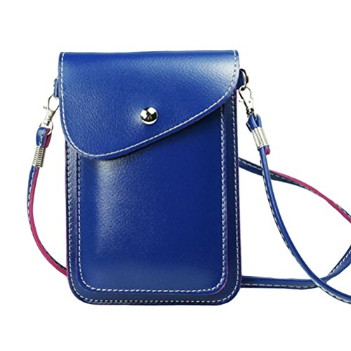 PU Leather 2 Layers Vertical Cellphone Pouch Bag with Shoulder Strap and Magnetic Button for Apple iPhone Samsung Galaxy and Other Smartphone Blue