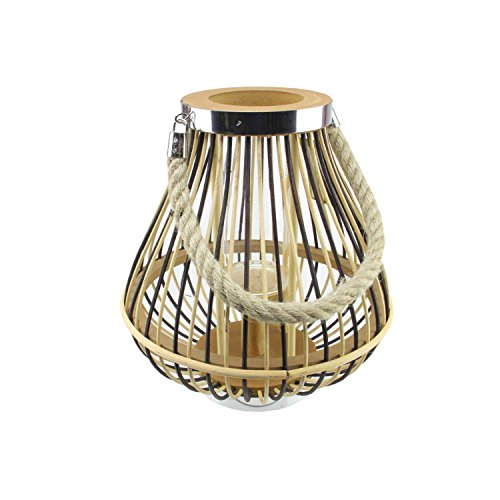"""11"""" Rustic Chic Pear Shaped Rattan Candle Holder Lantern wit"""