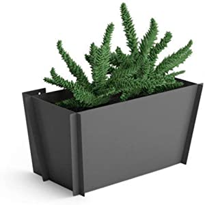 Groovebox Planters | Hanging Wall Planter | Modern Metal Plant Pot for Indoor and Outdoor Plants, Grey