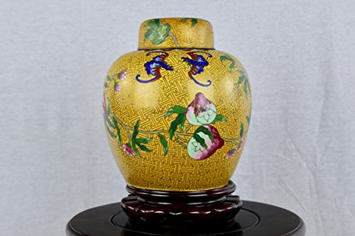 Tai Nam Yang 10  Vintage Chinese Yellow Cloisonne Ginger Jars With Longevity Peaches Foo Bat