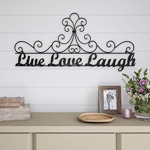 Lavish Home Metal Cutout-Live Laugh Love Wall Sign-3D Word Art Home Accent Decor-Modern Rustic or Vintage Farmhouse Style (Above Decor Tv)