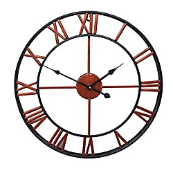 Homkoo Large Wall Clock 45CM Big Roman Numerals Giant Open Face Metal (Bronze)