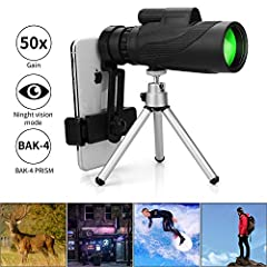 Schine Skyhawk 12X50 HD High Power Prism Monocular! It brings the world closer and provides high-resolution images with extremely accurate colour reproduction. It enable you to observe target in distant world with more true-to-life details. I...