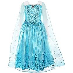 ReliBeauty Girls Sequin Princess Costume Long Sleeve Dress up, Light Blue, 4T