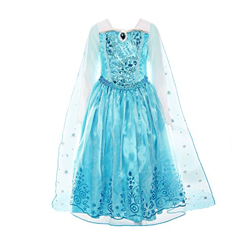 ReliBeauty Girls Sequin Princess Costume Long Sleeve Dress up, Light Blue, 7