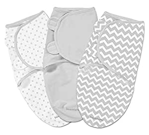 Summer Infant Swaddleme 3 Piece Adjustable Infant Wrap, Small, Chevron