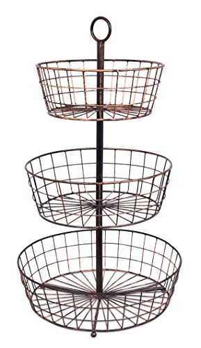 BirdRock Home 3 Tier Wire Fruit Basket | Round Metal Standing Baskets | Fruit Vegetable Garlic Caddy | Freestanding Rustic Decorative Basket