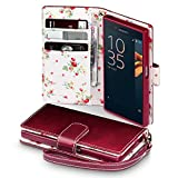 Xperia X Compact Case - Terrapin Sony Xperia X Compact Wallet - Beautiful Floral Women's Case Folio Flip - Card Slots - Money Pocket - Wristlet - Red with Cute Floral Interior