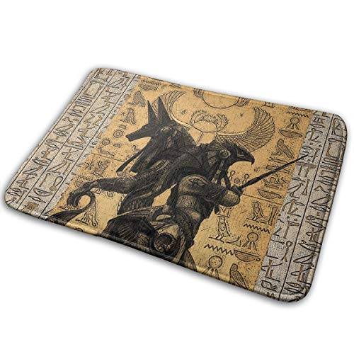 Jingclor Welcome Doormat, Entrance Floor Mat Rug Indoor Outdoor Front Door Mat with Non-Slip Rubber Backing, Printing Doormats with Egypt Anubis, 15.8''WX23.6''L