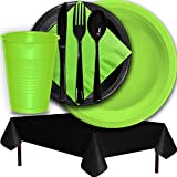 Plastic Party Supplies for 50 Guests - Lime Green and Black - Dinner Plates, Dessert Plates, Cups, Lunch Napkins, Cutlery, and Tablecloths - Premium Quality Tableware Set