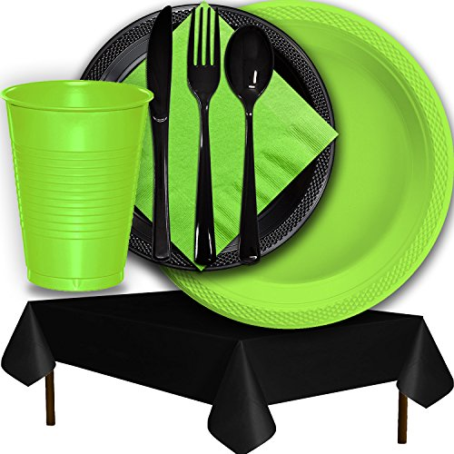 Plastic Party Supplies for 50 Guests - Lime Green and Black - Dinner Plates, Dessert Plates, Cups, Lunch Napkins, Cutlery, and Tablecloths - Premium Quality Tableware Set -