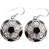 Soccer Ball Clear Crystals Black Enamel Fashion Dangle Earrings