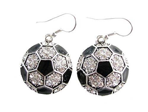 Soccer Ball Clear Crystals Black Enamel Fashion Dangle Earrings