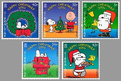 Gibraltar Snoopy Peanuts Christmas Set Of 5 Collectible Postage Stamps