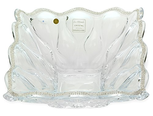 Victoria Bella, 11-Inch Swarovski Jeweled Crystal Vase, Decorative Wedding Gift Centerpiece Fruit Bowl Inlaid with Crystals - Victoria Fruit Bowl