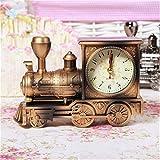Tuersuer Warm and Beautiful Retro Train Alarm Clock,Retro Train Style Alarm Clock Children Gift Table Desk Quartz Alarm Clock (Color : Bronze)