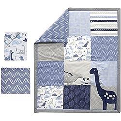 Bedtime Originals Roar Dinosaur 3 Piece Crib Bedding Set, Blue/Gray