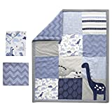 crib quilt gray - Bedtime Originals Roar Dinosaur 3 Piece Crib Bedding Set, Blue/Gray