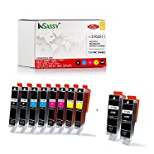 InSassy Replacement For PGI-270XL CLI-271XL Ink Cartridges - Compatible with PIXMA MG7720 MG6820 MG6821 MG6822 MG5720 MG5721 MG5722 TS5020 TS6020 (10 Pack Combo)