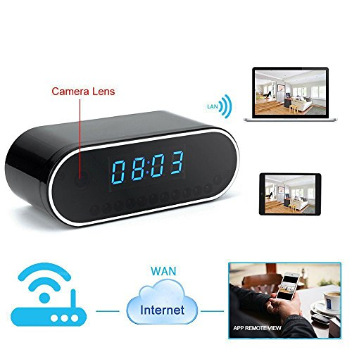 Flylinktech Spy Camera Wi-Fi, Alarm Clock - 1280 x 720p Micro Camera, with...