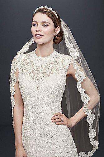 David Style Robe De Mariée Gaine Manches De Mariée Bonnet De Dentelle Allover Wg3910 Blanc