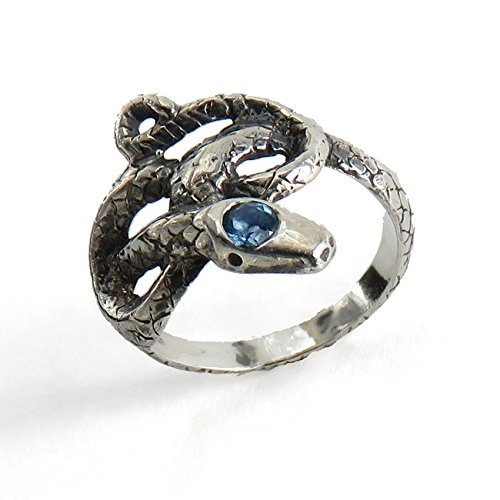 Blue Topaz Knotted Snake - Sculpted Sterling Silver -