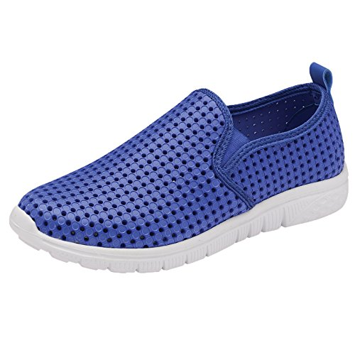 Damas Espuma de memoria Ligero Sin Cordones Mocasín Zapatillas - Azul, 6 UK
