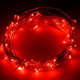 YCDC Micro LED String Lights 5m/50LEDs Red Color, Waterproof Starry Lamps 16ft Wild Silver Wire, Xmas Birthday Party