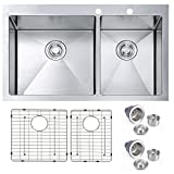 SINOGY 33''x22''x10'' Inches 60/40 Stainless Steel Topmount / Drop-In Double Bowls Kitchen Sink 16 Gauge Round Corners With Two Drainers, 16 Gauge With Bottom Grid