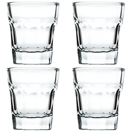 Shot Glasses 1.5 oz - Heavy Base Shot Glass Set of 4 - Tequila Glasses With Pour Spout And Cleaning Cloth In Gift Packaging By Trendy Bartender