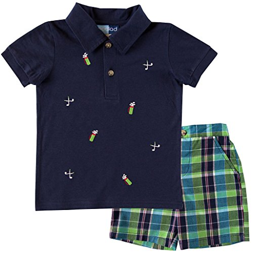 Good Lad Infant/Toddler Boys Plaid Short Set and Navy Polo with Golf Embroideries (12M)