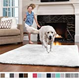 Gorilla Grip Original Faux-Chinchilla Nursery Area Rug, 5x7 Feet, Super Soft and Cozy High Pile Washable Carpet, Modern Rugs for Floor, Luxury Shaggy Carpets for Floors, Bed and Living Room, White