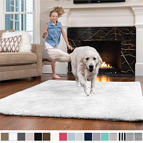 (GORILLA GRIP Original Faux-Chinchilla Nursery Area Rug, (3' x 5') Super Soft & Cozy High Pile Machine Washable Carpet, Modern Rugs for Floor, Luxury Shaggy Carpets for Floors, Bed/Living Room (White))