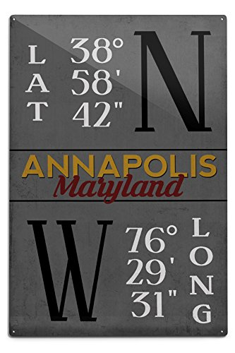Annapolis, Maryland - Latitude and Longitude (MD Colors) (12x18 Aluminum Wall Sign, Wall Decor Ready to Hang)