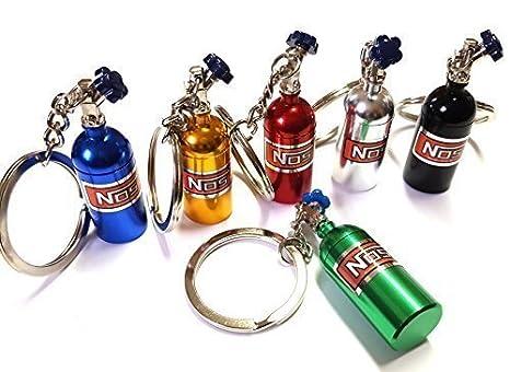 1x NOS Power óxido Nitroso Botella Inyección Llavero fabricado en aluminio in 6 Colores Llave AUTOMÓVIL ...
