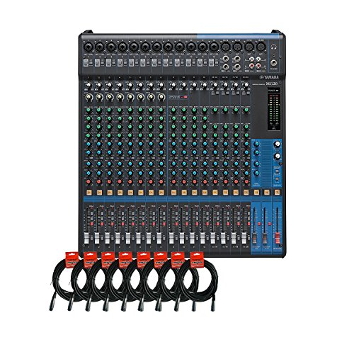 Yamaha MG20 20-channel Analog Mixer Bundle with 16 Microphone Preamps, 4 Dedicated Stereo Line Channels, 4 Aux Sends, EQ, and 1-knob Compressors and 8 Pack of Mixer Cables -