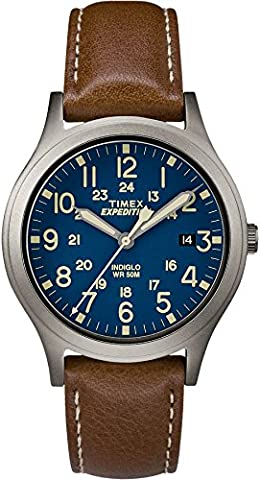 Timex Unisex TW4B11100 Expedition Scout 36 Brown/Titanium/Blue Leather Strap Watch (Leather Round Watch)