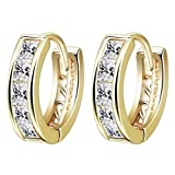 KIMING Fashion Jewelry Braided Cubic Zirconia Hoop Earrings 18K Gold Plated for Women Girls Party Gift