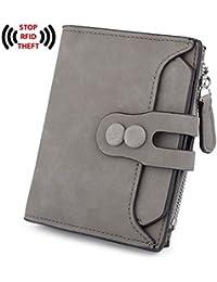 Women's RFID Blocking PU Matte Leather Wallet Card Holder Organizer Girls Coin Purse with Snap Closure