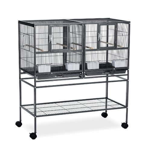 Double Breeder - Prevue Pet Products F070 Hampton Deluxe Divided Breeder Cage with Stand